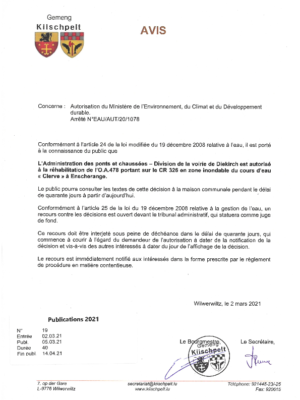 Avis - Ponts et Chaussées - Autorisation réhabilitation de l'o.a.478 portant sur CR 326