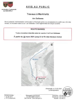 Avis - Route barrée - Pintsch - Am Dellewee - 16 mars jusqu'à la fin des travaux