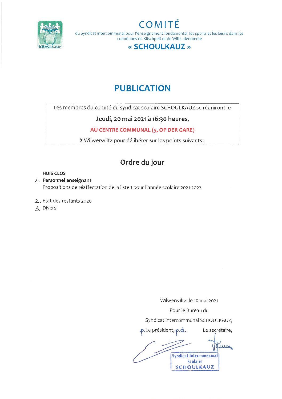 Comité Schoulkauz du 20 mai 2021