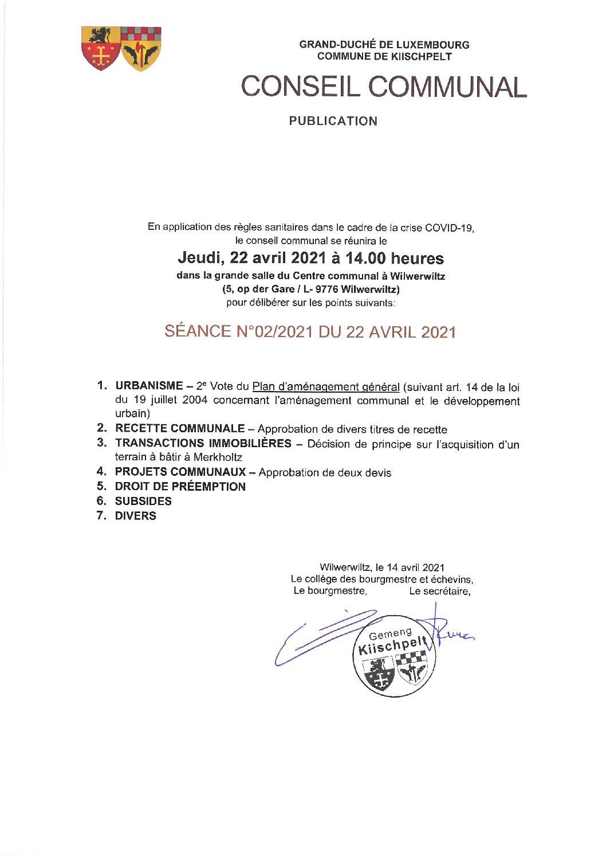 Conseil Communal 2/2021 - Ordre du jour