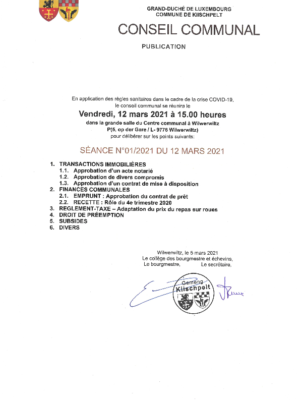 Conseil communal 01/2021 du 12 mars 2021 - Ordre du jour