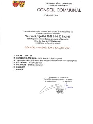 Conseil communal 04/2021 du 9 juillet 2021