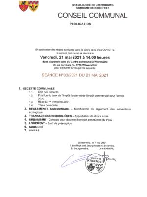 Conseil communal 03/2021 du 21 mai 2021