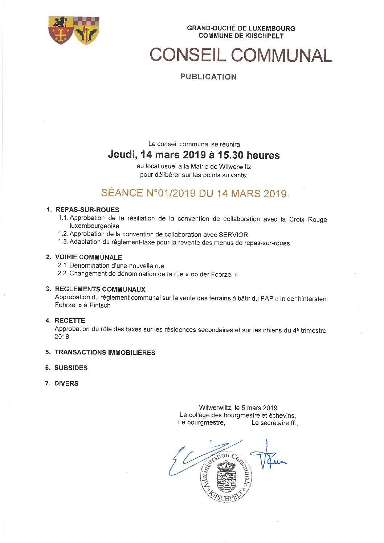 Délibération Conseil Communal 01/2019