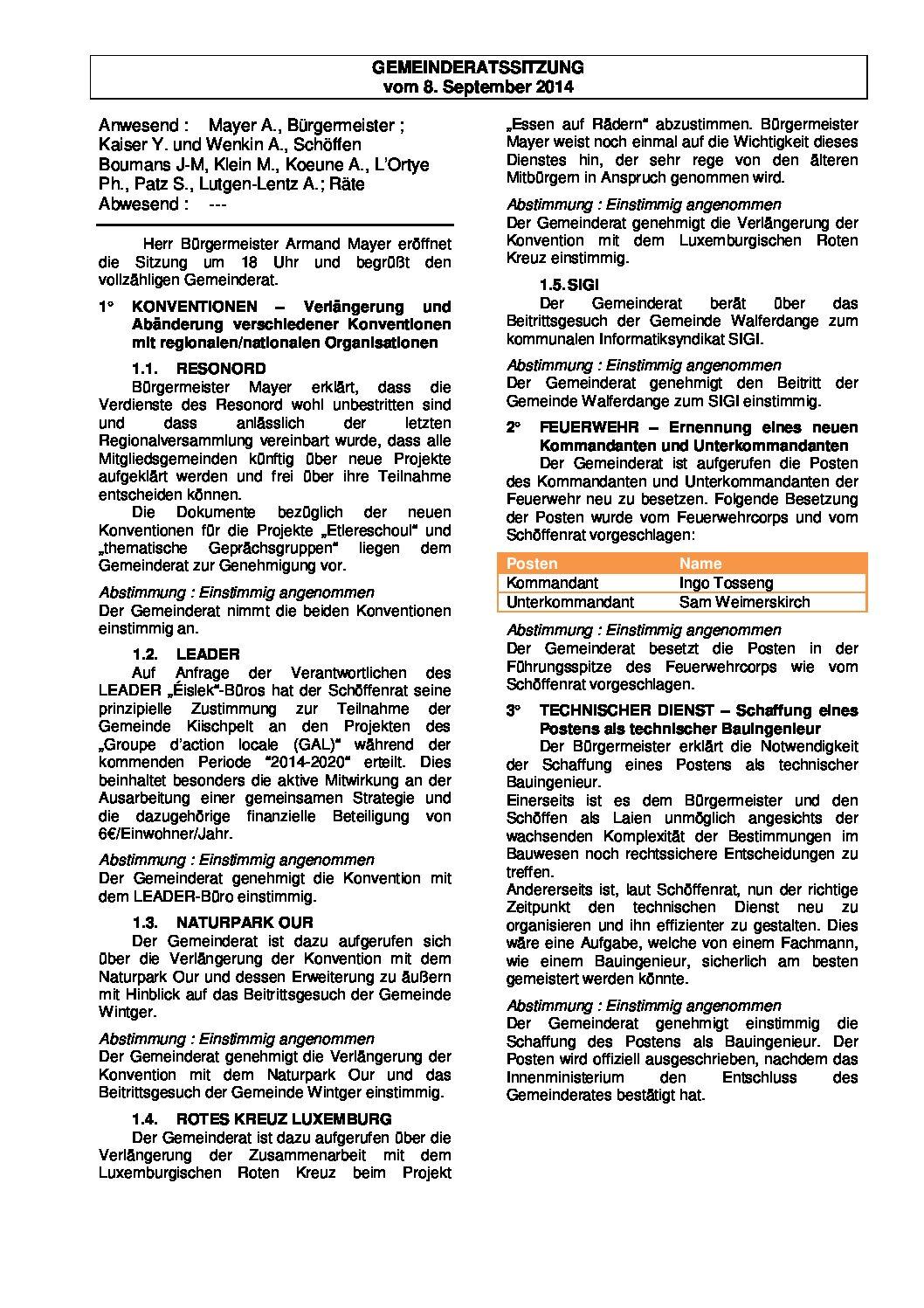 Gemeinderats Bericht vom 08.09.2014
