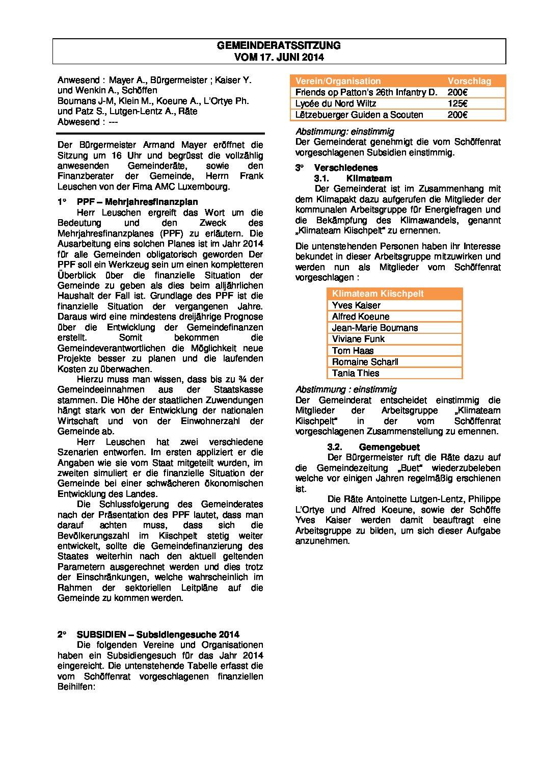 Gemeinderats Bericht vom 17.06.2014