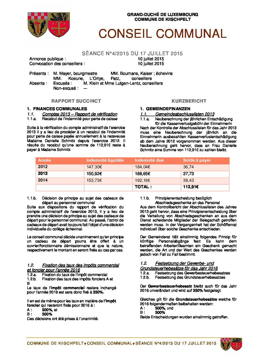 Gemeinderats Bericht vom 17.07.2015