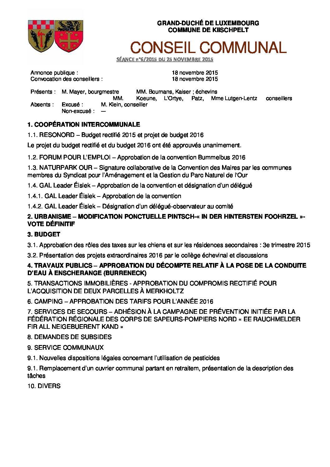 Gemeinderats Bericht vom 18.09.2015