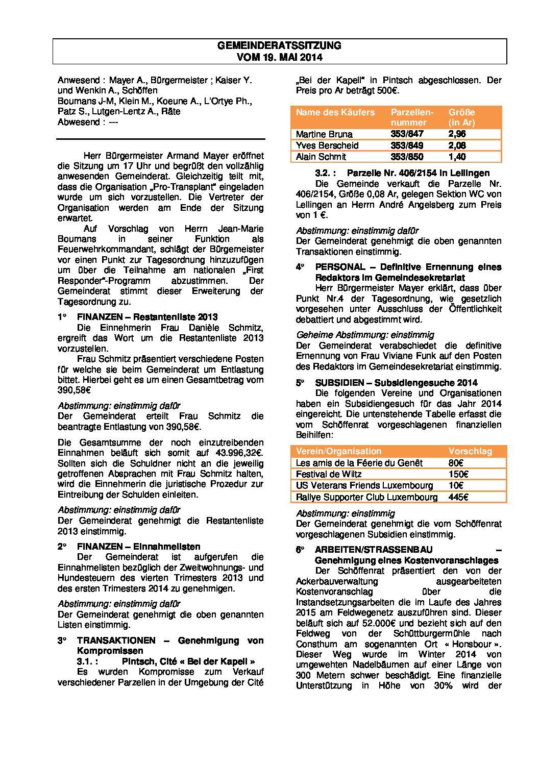 Gemeinderats Bericht vom 19.05.2014