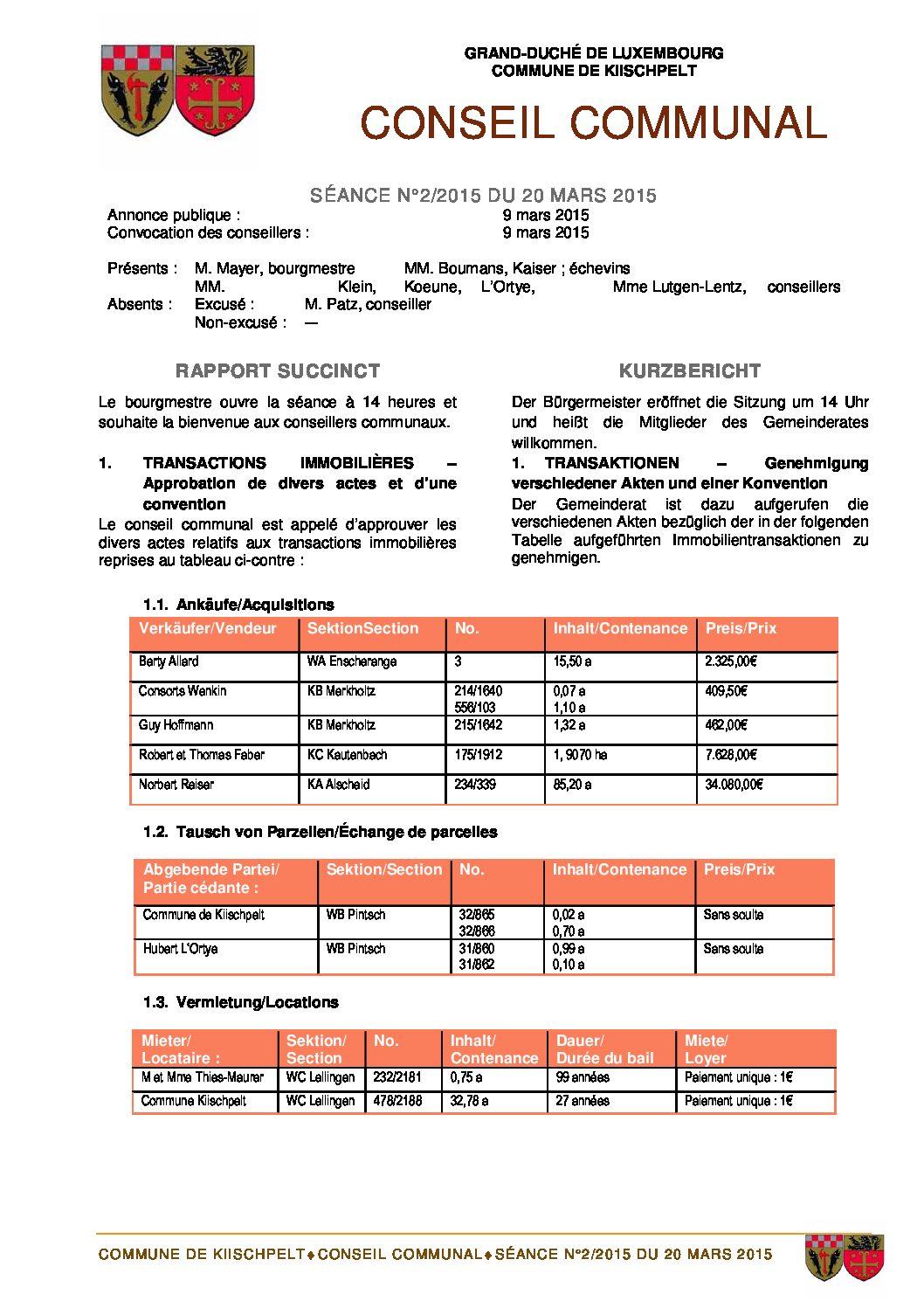 Gemeinderats Bericht vom 20.03.2015