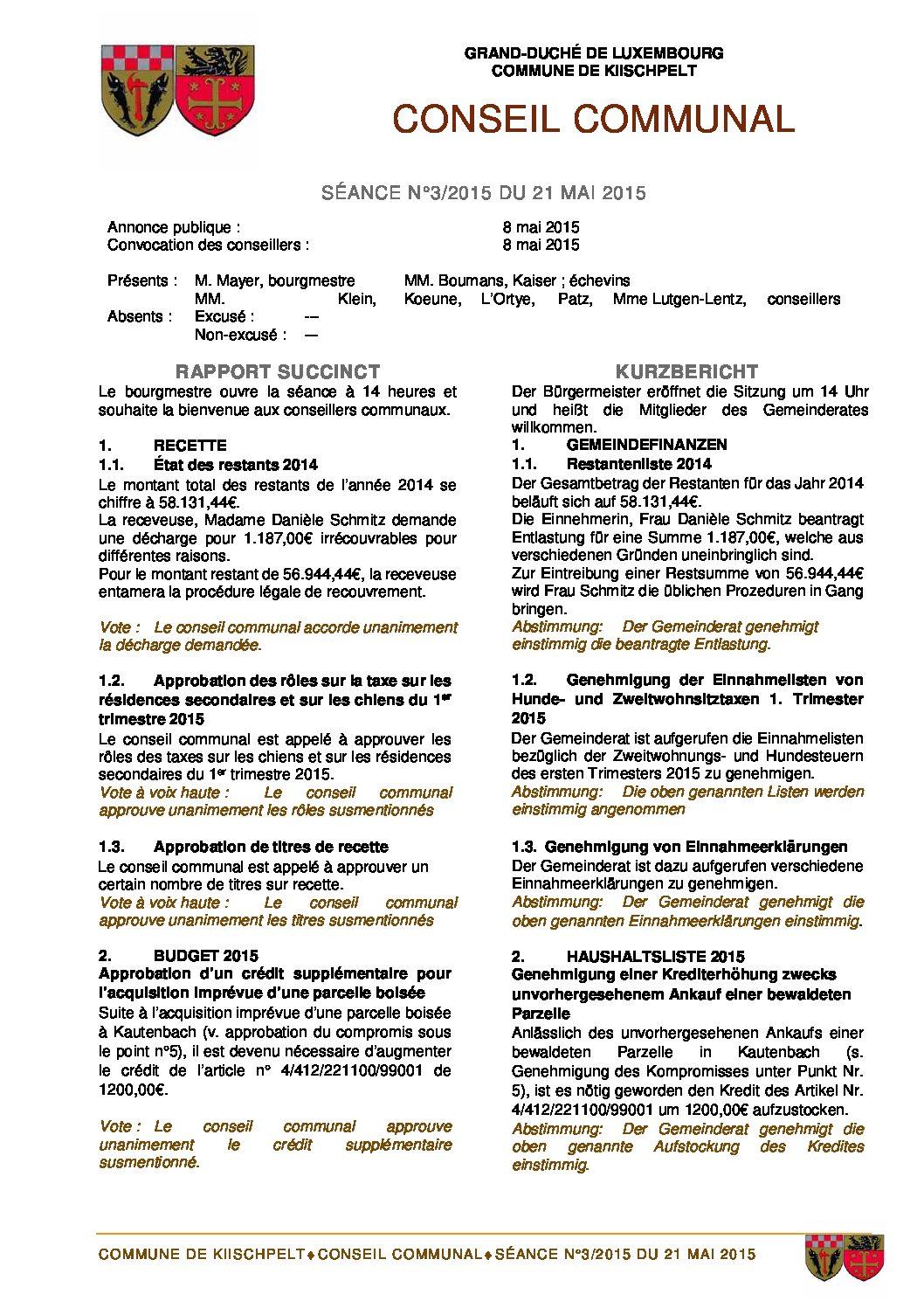 Gemeinderats Bericht vom 21.05.2015