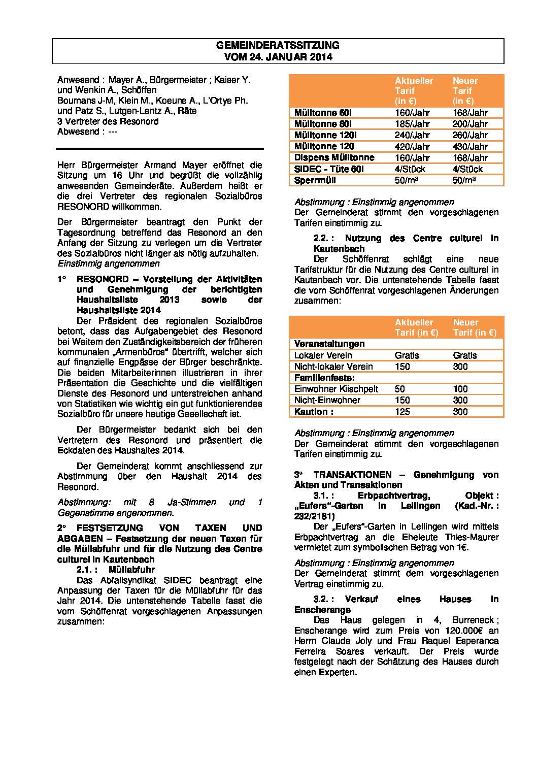 Gemeinderats Bericht vom 24.01.2014