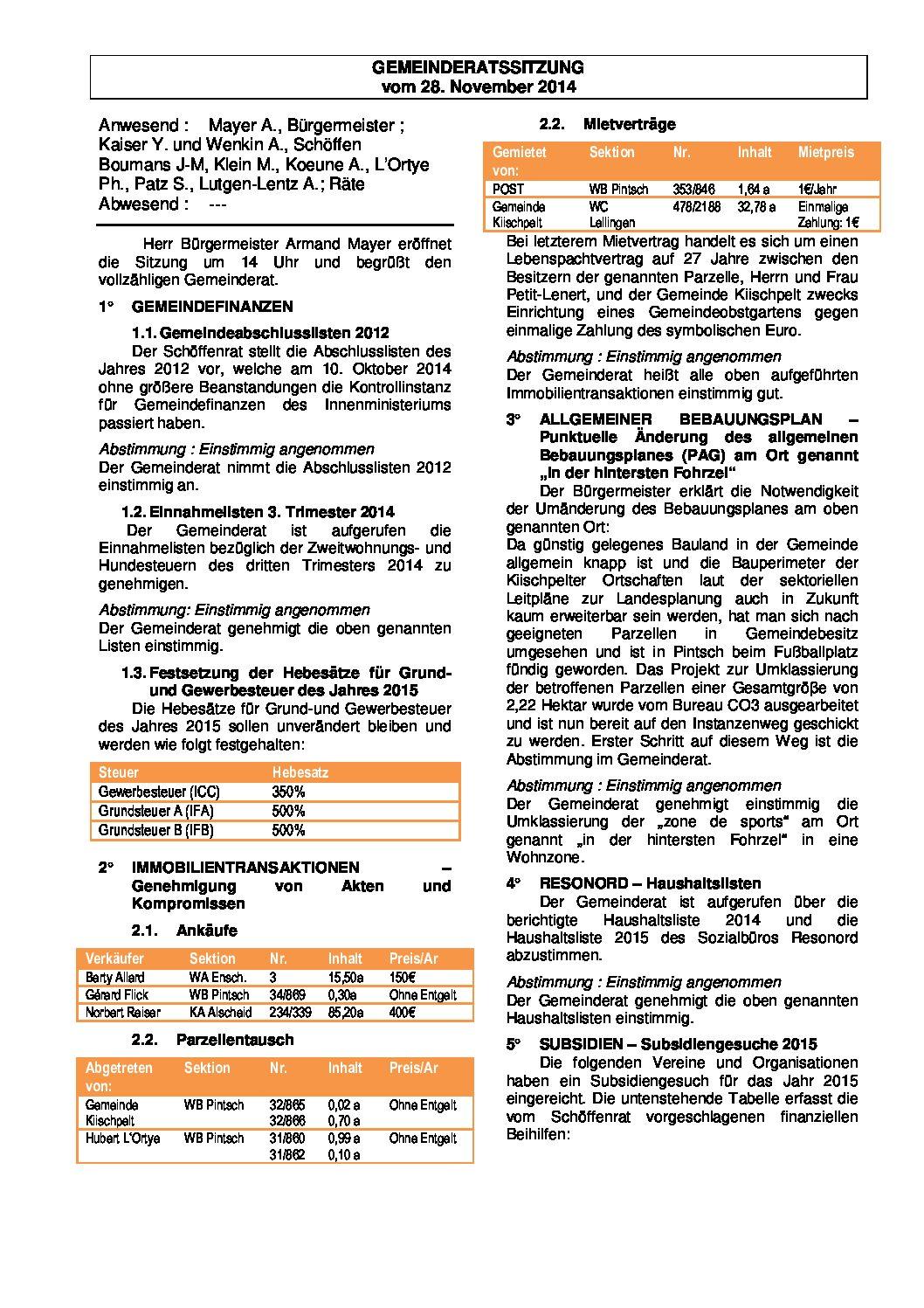 Gemeinderats Bericht vom 28.11.2014