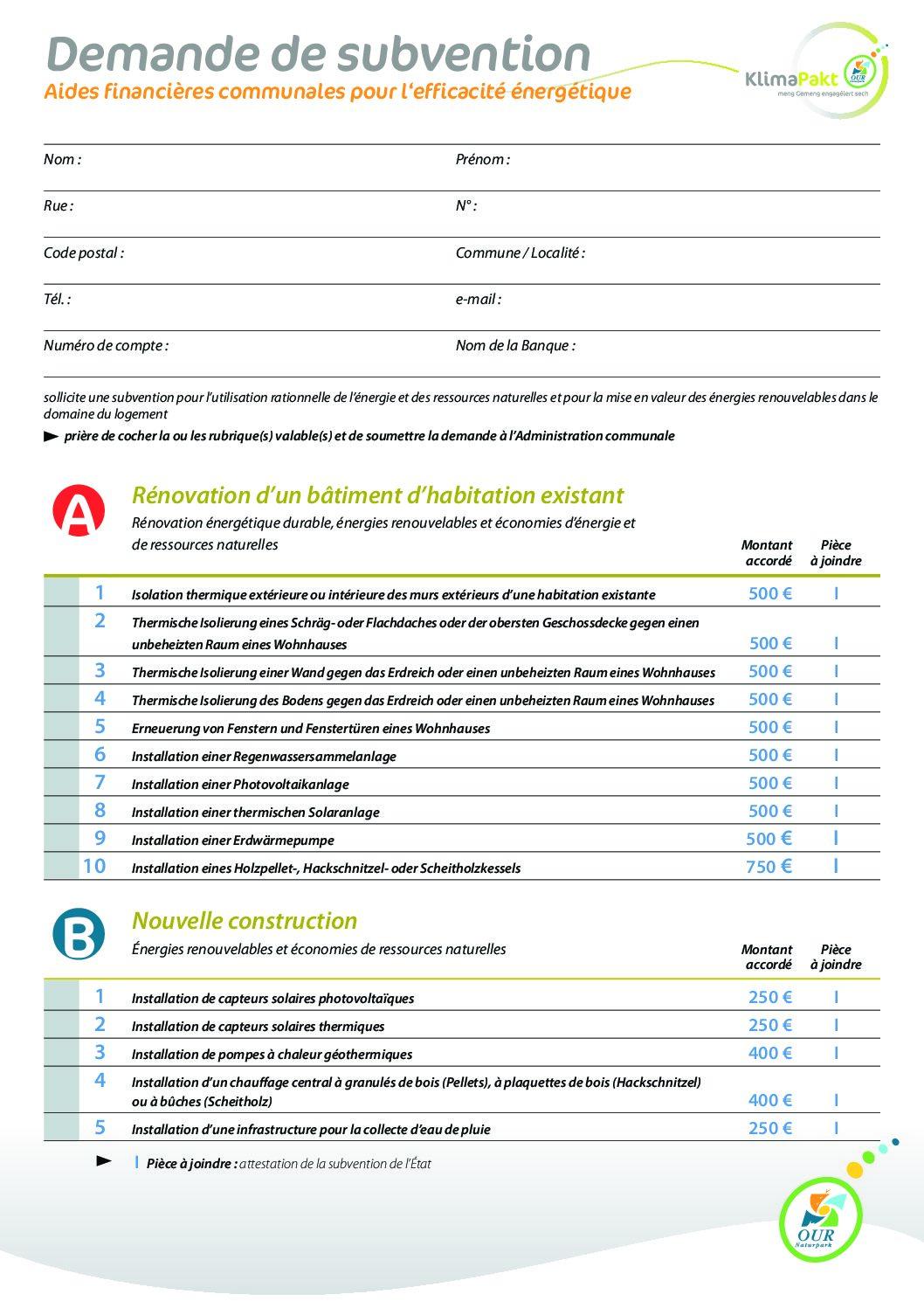 Klimapakt - Aides financières communales pour l'efficacité énergétique - Formulaire