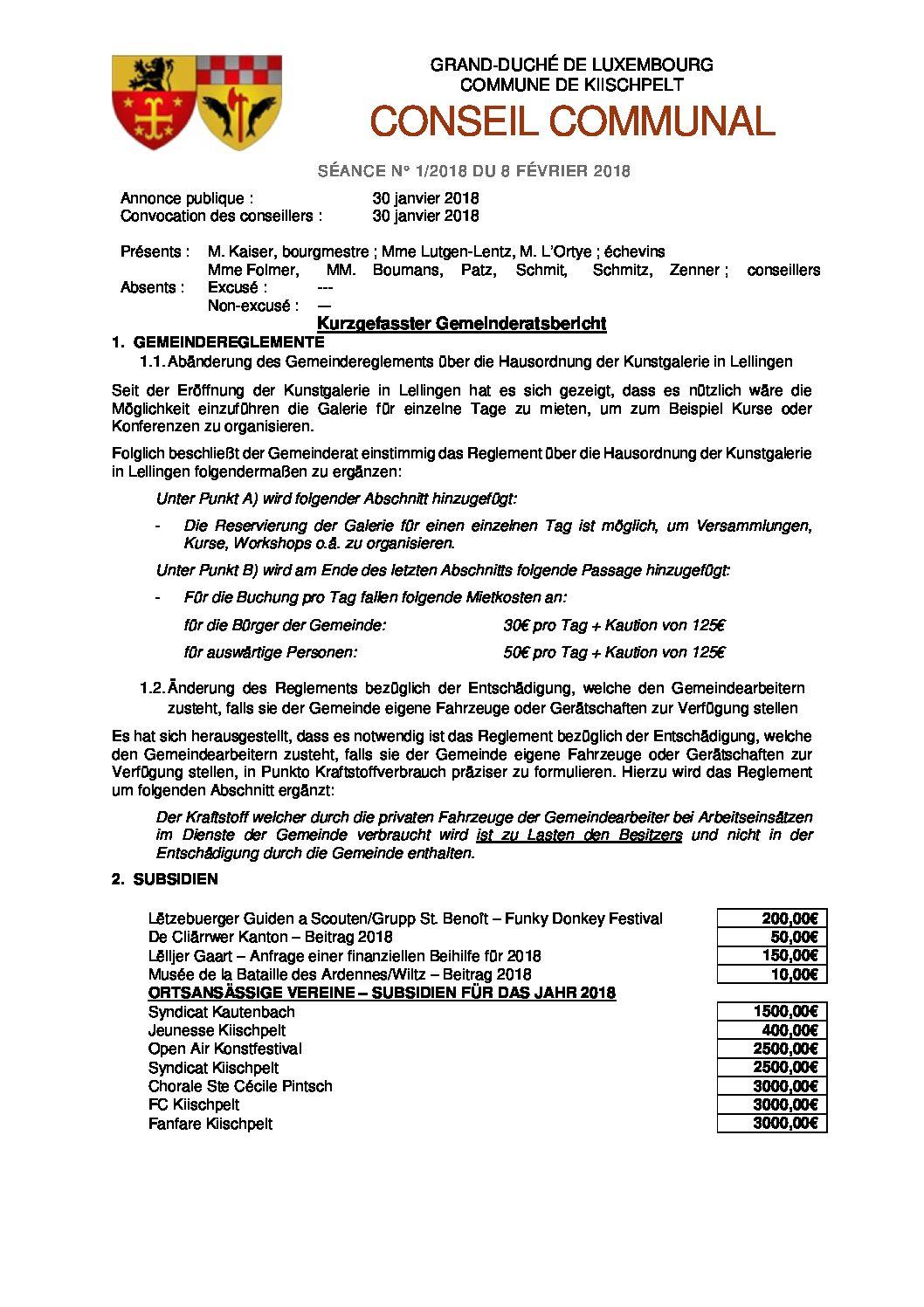 Gemeinderats Bericht vom 8. Februar 2018