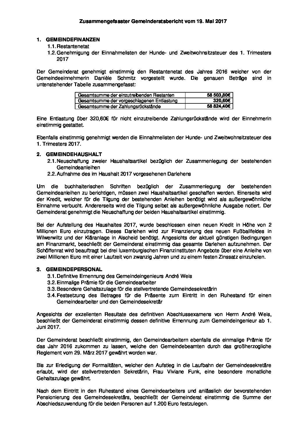 Gemeinderats Bericht vom 13. Mai 2017