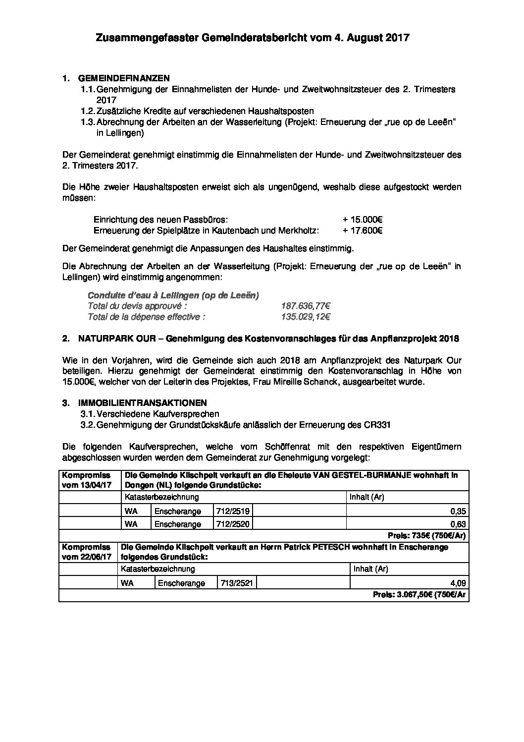 Gemeinderats Bericht vom 4. August 2017