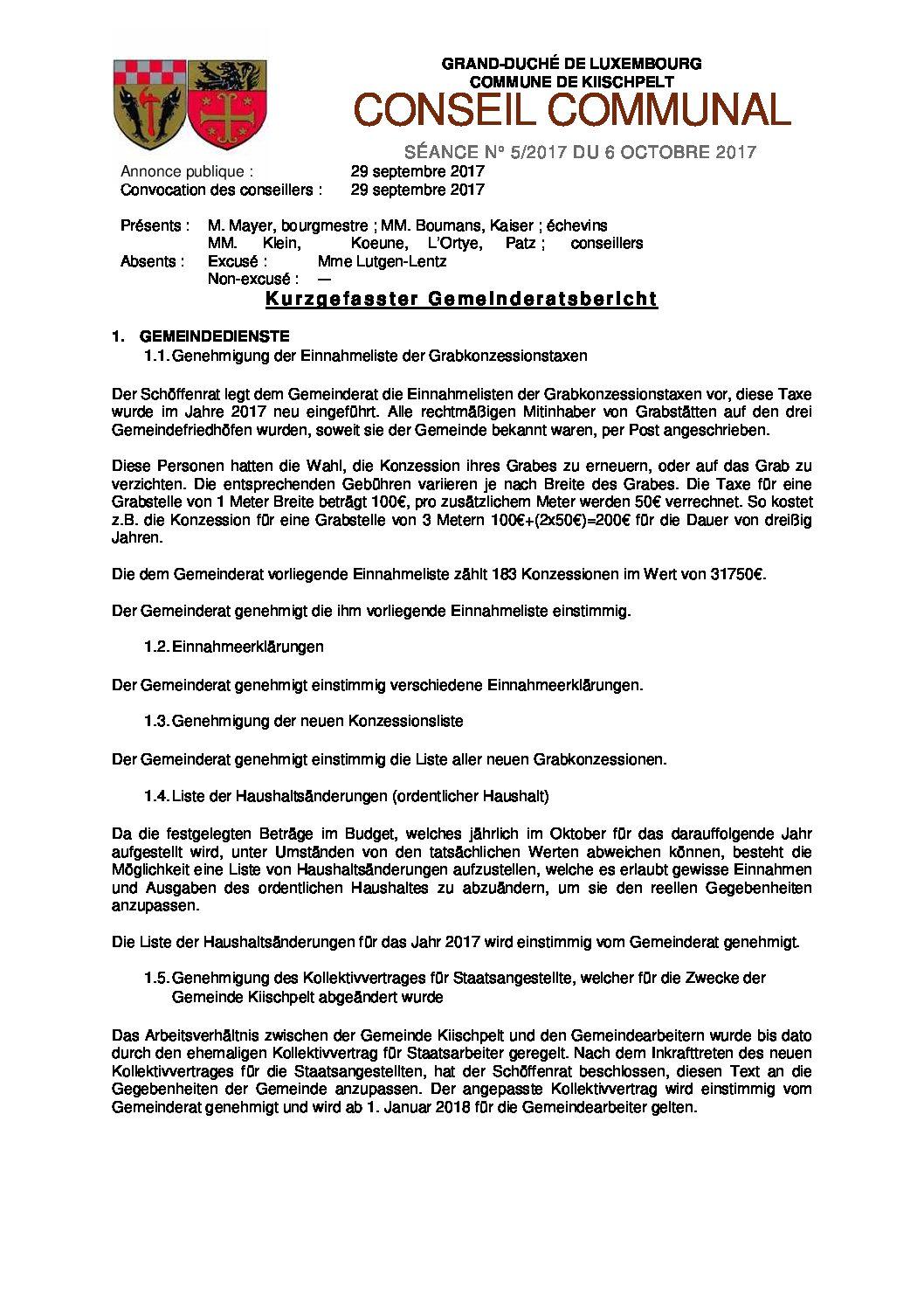 Gemeinderats Bericht vom 6. Oktober 2017