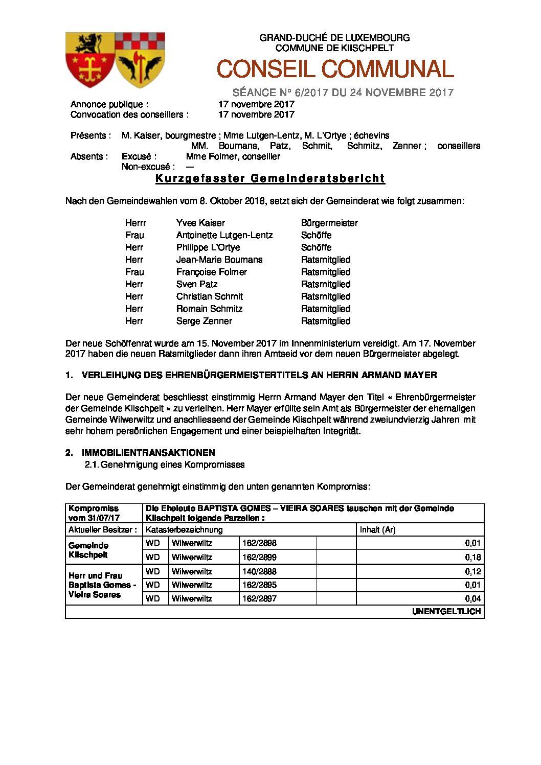 Gemeinderats Bericht vom 24. November 2017