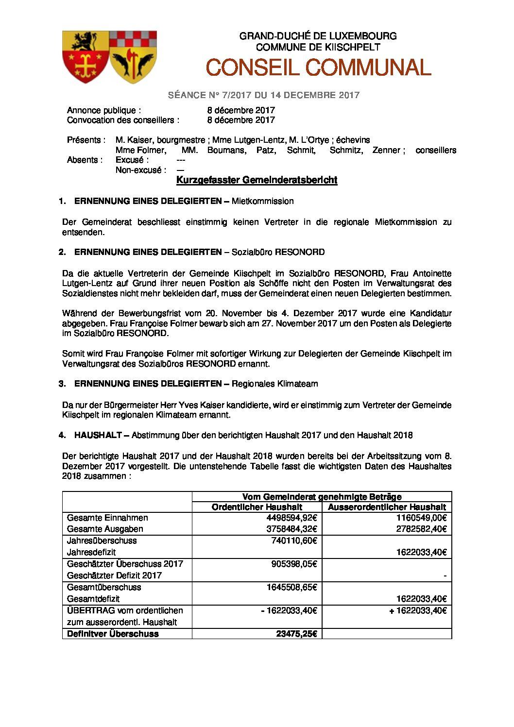 Gemeinderats Bericht vom 8. Dezember 2017