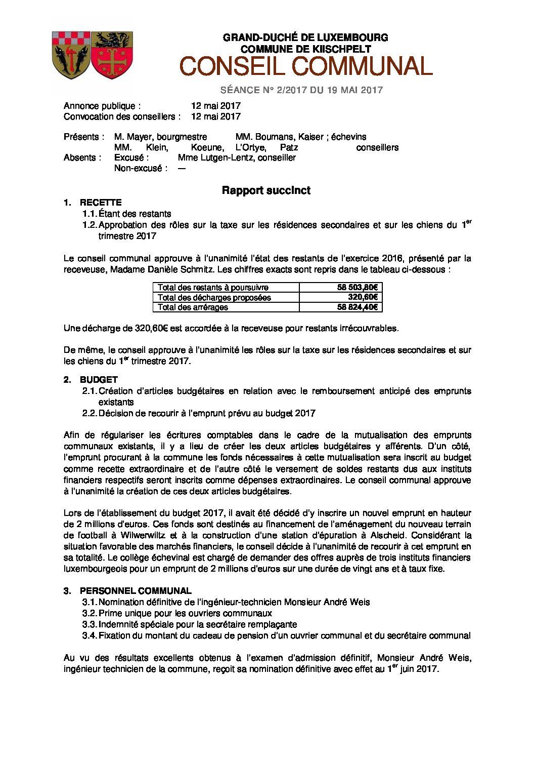 Rapport du conseil communal du 13 mars 2017
