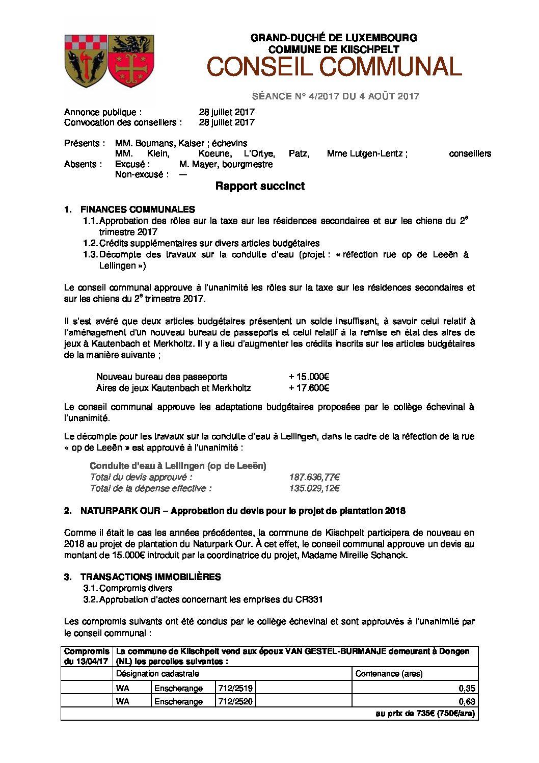 Rapport du conseil communal du 3 août 2017