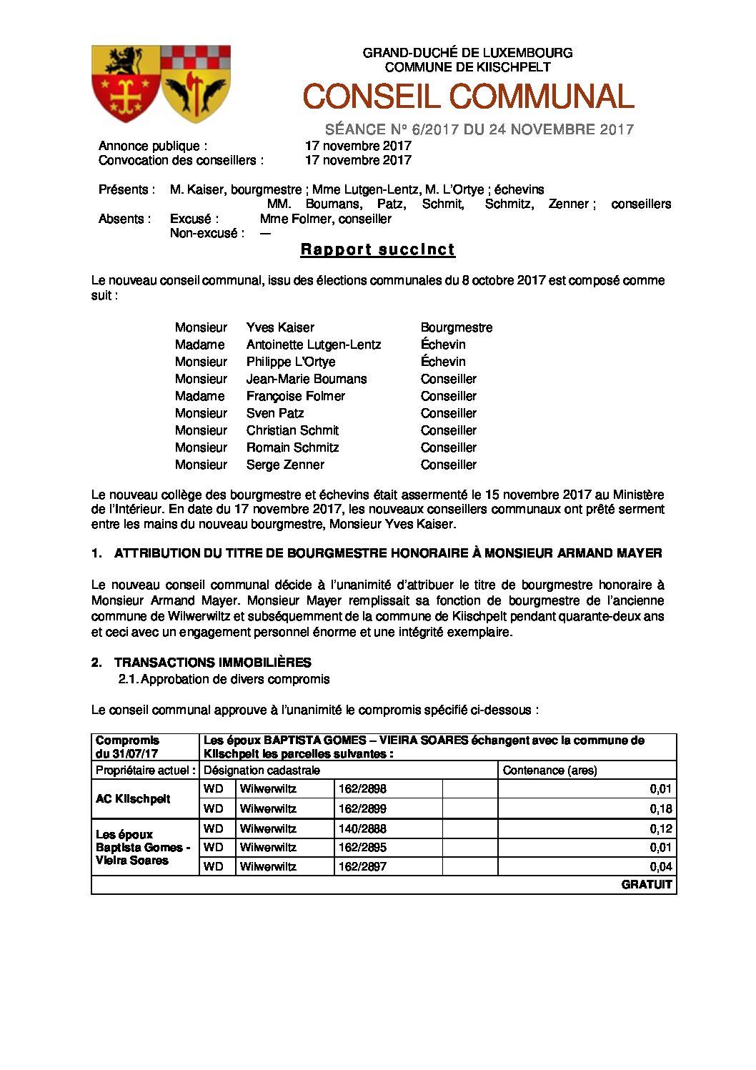 Rapport du conseil communal du 24 novembre 2017