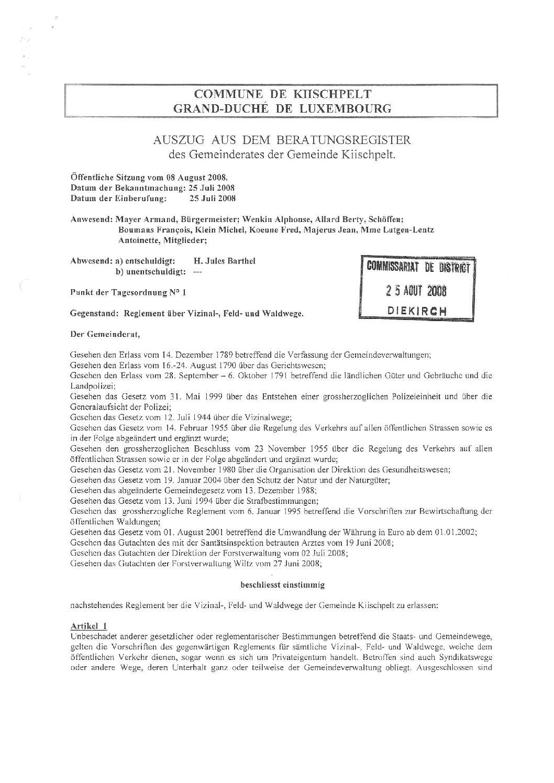 Reglement über Vizinal-, feld- und Waldwege