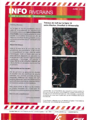 CFL: Travaux de nuit sur la ligne 10 - Luxembourg - Troisvierges du 29 mars au 20 avril 2021