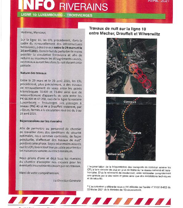 CFL: Travaux de nuit sur la ligne 10 – Luxembourg – Troisvierges du 29 mars au 20 avril 2021