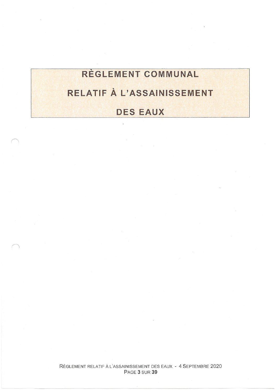 Règlement communal relatif à l'assainissement des eaux - Annexe