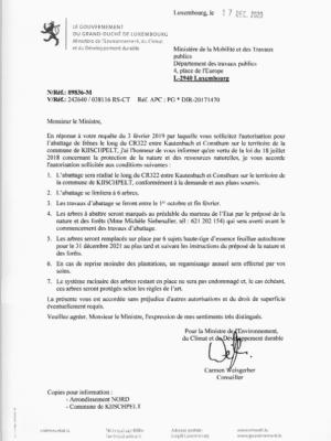 89836-M -17.12.2020 - Abattage de 13 frenes le long du CR322 et le long de la N