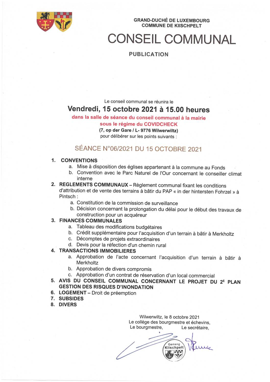 Séance du Conseil Communal N°06/2021 du 15 Octobre 2021 - Convocation